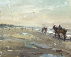 "Daily Paintworks - ""Horse Carriage on the Beach"" - Original Fine Art for Sale - © Roos Schuring Horse Carriage, Dog Beach, Coastal Art, Four Legged, Art For Sale, Oil On Canvas, Creatures, Horses, Fine Art"