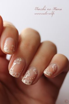 nude nails, wedding day nails, wedding nails, french manicures, nail designs, nail arts, french tips, white lace, lace nail
