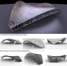 Andreas Harris, research into animal bones and in particular bird skulls. Light and impact-resistant structures used as protection, inspiration in architecture.
