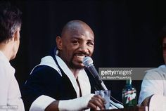 American boxer Marvelous Marvin Hagler appears at a press conference prior to his middleweight championship fight nicknamed 'The War' with Thomas. Marvelous Marvin Hagler, American Boxer, Conference, War