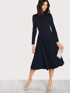 Shop Mock Neck Fit   Flare Dress online. SheIn offers Mock Neck Fit   Flare 8d3823c27e6a