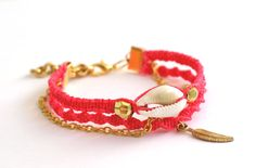 Sea Shell Friendship Bracelet in Hot Rose by makunaima on Etsy, $17.90