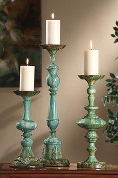 Aegean Blue Candleholders.