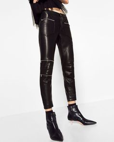 ZARA - TRF - LEATHER EFFECT ZIPPED TROUSERS