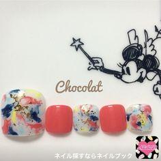 ネイル 画像 ネイルサロン ショコラ(Chocolat) 恵比寿 1470487 オレンジ カラフル 白 マーブル ホイル 春 夏 海 リゾート ソフトジェル フット