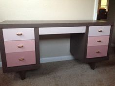 Old desk that I painted.  Ombre pink