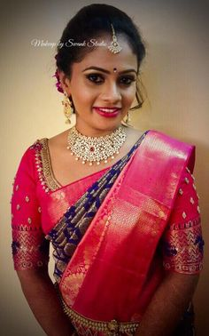 Hema looks gorgeous for her reception ceremony. Makeup and hairstyle by Swank Studio. Pink lips. South Indian bride. Eye makeup. Bridal jewelry. Bridal hair. Silk sari. Bridal Saree Blouse Design. Indian Bridal Makeup. Indian Bride. Diamond Jewellery. Statement Blouse. Tamil bride. Telugu bride. Kannada bride. Hindu bride. Malayalee bride. Find us at https://www.facebook.com/SwankStudioBangalore
