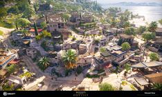 I did the level art for the City of Naxos, the village of Appolonas, and most of the Island of Naxos, for Assassin's Creed Odyssey. Here are samples of my work, the world is too huge to cover it all ! My work as a Level Artist often starts with Fantasy Art Landscapes, Fantasy Landscape, Landscape Art, Fantasy City, Fantasy Places, Ancient Greek Architecture, Classical Architecture, Egypt Concept Art, Renaissance