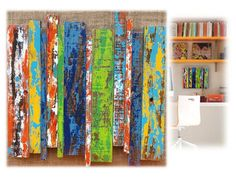Reclaimed Pine Wall Hanging Sculptures Modern Rustic Painted Small Sized Unframed Textured Colorful Decorative Kids Room Fun Art Decor Ideas