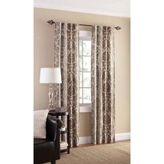 Mainstays Canvas Curtain Panel Damask Print Set Of 2