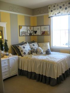 ABC yellow and gray girls room, like the stripes w/molding and the corner pix