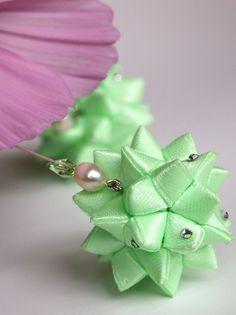 Mint Green Ball Ribbon Ornament Earrings OOAK by MizuSGarden