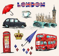 London symbols. Set of drawings. — Ilustración de stock #27217435