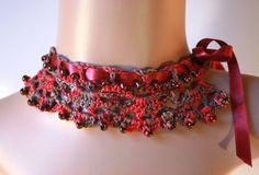 Hey, I found this really awesome Etsy listing at https://www.etsy.com/listing/119488449/crochet-necklacechoker-redbrowngrey-hand