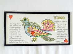 Vintage Margot Johnson Zodiac Astrology Framed Print Virgo 1968 Soovia Janis