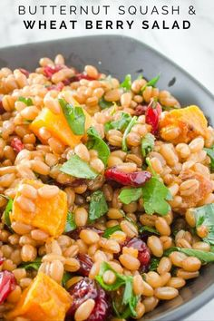 Vegan salad recipe using wheat berries and butternut squash. great for lunch on the go or eating healthy. Wheat Berry Recipes, Wheat Berry Salad, Healthy Salad Recipes, Vegan Recipes, Savory Salads, Vegan Meals, Italian Recipes, Yummy Recipes, Healthy Grains