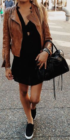 #fall #trending #outfits | Camel Leather + LBD