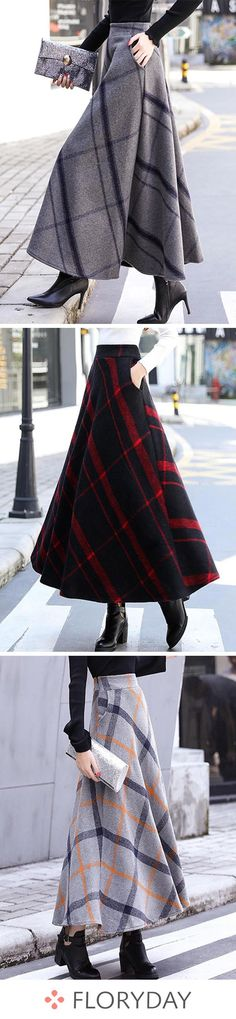 Check Maxi Elegant Pockets Skirts, tartan skirts, women skirts, elegant, maxi sk… – home accessories Mode Outfits, Skirt Outfits, Fall Outfits, Casual Outfits, Girly Outfits, Casual Dresses, Modest Fashion, Hijab Fashion, Fashion Outfits