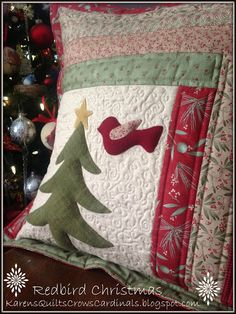 Throwback Thursday Redbird Christmas Pillow 2013 | Karen's Quilts, Crows and Cardinals | Bloglovin'