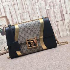 9169b8dd5b7 Gucci Medium Padlock GG Supreme and Gold/Black Leather Shoulder Bag 2017  Gucci Taschen Outlet