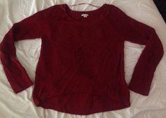 Womens XHILARATION Dark Red Loose BOHO Hi Low Knit Sweater Top Size XS #Xhilaration #KnitTop