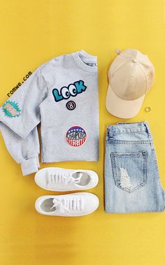 Heather Grey Raw Hem Crop Sweatshirt With Embroidered Patch with blue denim and white sneakers from romwe.com