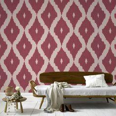 Graham & Brown Kellys Ikat Wallpaper Taupe/Carmine