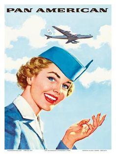 Vintage Planes Pan Am American Stewardess Poster - Party Vintage, Vintage Art, Vintage Ideas, Vintage Stuff, Pan Am, Vintage Travel Posters, Vintage Airline, Vintage Luggage, Poster Prints