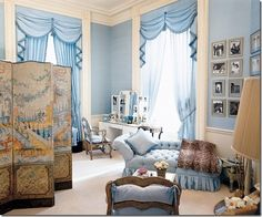 Jackie Kennedy's feminine blue dressing room in the White House.  Designed by Sister Parish
