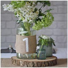 40+ Hessian Wedding Ideas - hessian table numbers #weddingideas #hessianwedding #rusticweddingideas