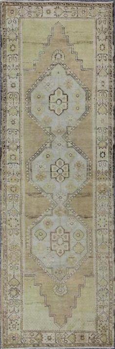 """KEIVAN WOVEN ARTS,    Type :Oushak Origin :Turkey  Size : 3'3""""x9'10""""  Circa :1940"""