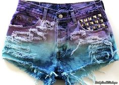 High Waisted Shorts Blue/Purple Fade Tie Dye by DirtySouthVintagee