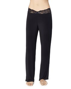beautifully feminine pant with lace along the waist