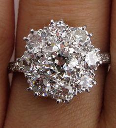 1910s Colorless 2.72ctw Antique OLD EUROPEAN Diamond Cocktail Cluster Wedding Engagement Platinum Ring, EGL