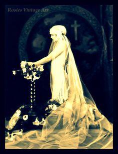 Ziegfeld Girl in 1920's Wedding Dress - Bride at Altar - TruGiclee Art Print of Vintage Photograph 11 x 14