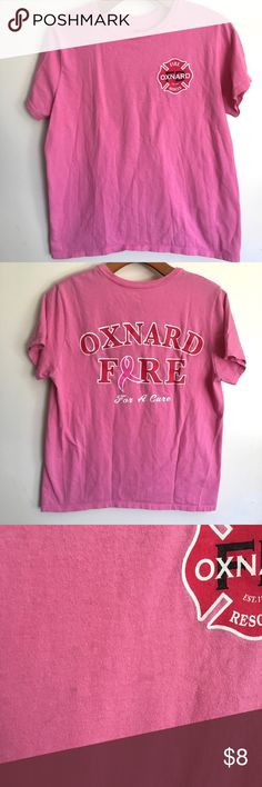 Pink Oxnard fire department tee shirt Medium - small mark in the front as seen in photo Hanes Tops