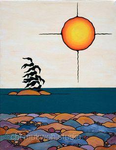 Georgian Bay, original acrylic painting, Native art style, Canadian artist, abstract, symbolism, Tribal art, sunset on water, rocks, beach, on Etsy, $275.00