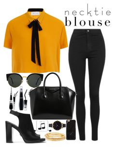 """""""necktie blouse"""" by opheline1610 ❤ liked on Polyvore featuring Elvi, Topshop, Givenchy, RetroSuperFuture, Lancôme, Michael Kors, Happy Plugs, Olivia Burton and Kate Spade"""