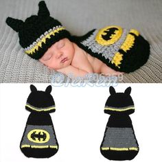 Newborn Baby Batman Hat Crochet Pattern Infant Photography Props Costume Set Handmade Baby Beanie Hat With Cover H035-in Hats & Caps from Kids & Mothercare on Aliexpress.com | Alibaba Group