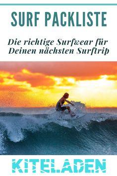Egal, ob Du Kitesurfer, Stand Up Paddler oder Wellenreiter bist, die Frage nach der richtigen Surfkleidung beschäftigt alle. In dieser Packliste findest Du die richtigen Outfits, damit Du für alle Wetterverhältnisse richtig ausgerüstet bist.  #surfwear #surfkleidung #packliste #surfer Surfer Outfit, Surf Bikini, Kitesurfing, Rip Curl, Surf Poncho, Wind Direction, Cooler Look, Movie Posters, Image