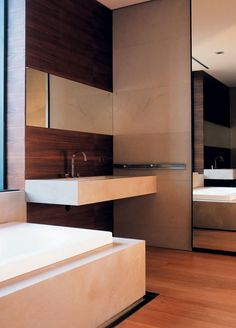 F-house | ARCH 4.  Love the sink wall with the simple lines of wood/sink/mirror.