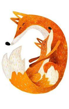 Red fox art by Carmen Saldana Art And Illustration, Fuchs Illustration, Watercolor Illustration, Illustration For Children, Animal Illustrations, Doodle Drawing, Fox Drawing, Fox Art, Grafik Design