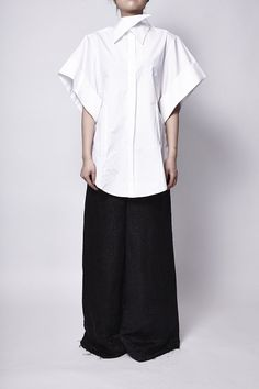 oversized sharp collar shirt - AGANOVICH - Layers London