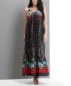 Look what I found on #zulily! Black Flower Empire-Waist Maxi Dress - Plus by Reborn Collection #zulilyfinds