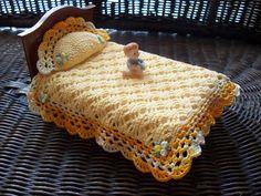 Miniature Dollhouse Crochet Bedspread with Pillow.