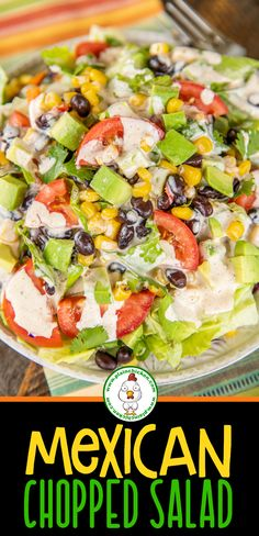 Mexican Chopped Salad - Mexican Chopped Salad – the perfect side to all of your favorite Mexican recipes! Lettuce Salad Recipes, Mexican Salad Recipes, Mexican Salads, Chopped Salad Recipes, Best Salad Recipes, Mexican Salad Dressings, Farro Recipes, Chopped Salads, Salads To Go