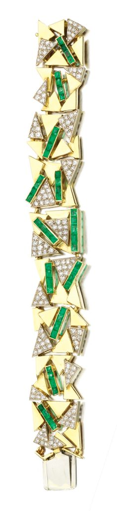 EMERALD AND DIAMOND BRACELET, 1970S. Of paved geometric design, accented with calibré-cut emeralds and single-cut diamonds, length approximately 170mm.