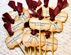 "Vintage Inspired ""Love Birds"" Cupcake Toppers - Set of 12 - Personalized - You Choose Ribbon Color"