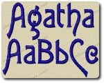 Agatha Alphabet Embroidery Design by 8Clawsandapaw.com Agatha Font Includes 3 Sizes 1 Inch Satin Stitch 2 Inch Column Fill 3 Inch Column Fill 26 Upper Case Letters 26 Lower Case Letters