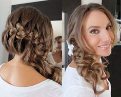 Side French Braid Wedding Hairstyle with Curls - By Natalie B. Bridal Makeup and Hair.
